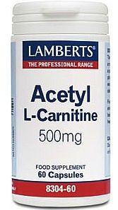 Lamberts Acetyl L-Carnitina 500mg 60 cápsulas