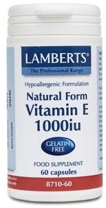 Lamberts Vitamina E natural 1000 UI 60 cápsulas