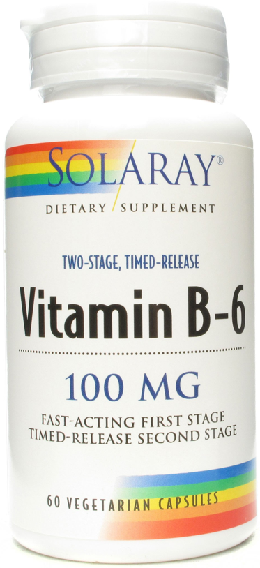 Solaray Vitamina B6 100mg 60 cápsulas retard
