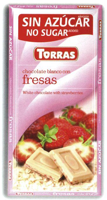 Torras Chocolate Blanco-Fresas Sin Azúcar 75g